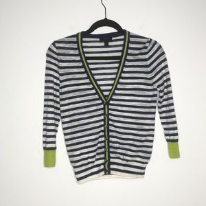 J. Crew Blue White Striped Cardigan Sweater Button